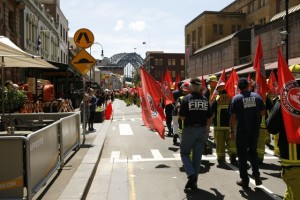 Centenary March in The Rocks with Harbour Bridge in background